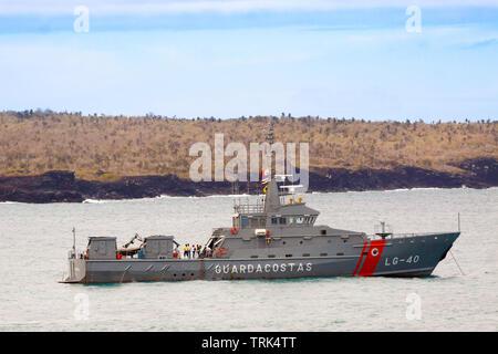 An Ecuadorian Coast Guard ship at anchor in Academy Bay, off Puerto Ayora, the island of Santa Cruz, Galapagos archipielago, Ecuador. - Stock Photo