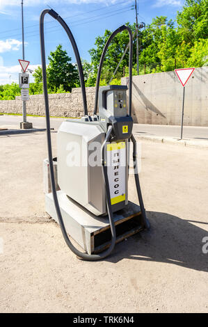 Samara, Russia - June 1, 2019: Stationary vacuum cleaner for car cleaning at the car wash self-service - Stock Photo