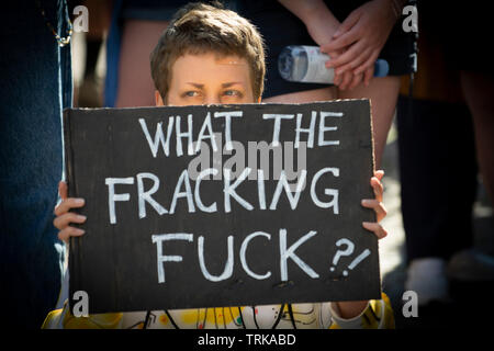 Demonstrators outside the German Bundesrat in Berlin. Against the import of USA Fracked Gas into Germany. Stock Photo
