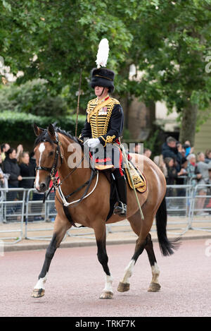 Lead charger horse Lucy Glitters ridden by Major Harry Wallace down The Mall, London, UK from Horse Guards Parade for the Trooping of the Colour 2019. Kings Troop Royal Horse Artillery - Stock Photo