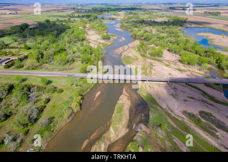 South Platte River in Nebraska at Brule, aerial view - Stock Photo