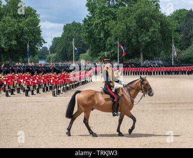 Horse Guards Parade, London, UK. 8th June 2019. Soldiers of the 1st Battalion Grenadier Guards Troop their Colour in the presence of HM The Queen at the Queen's Birthday Parade. Image: The King's Troop Royal Horse Artillery perform a ride past salute to The Queen with eyes right. Credit: Malcolm Park/Alamy Live News. - Stock Photo