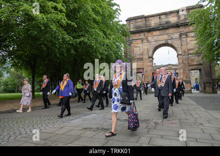 Glasgow, Scotland, UK. 8th June, 2019. Marchers taking part in the Orange Walk through the streets of the city to mark the victory of Prince William of Orange over King James II at the Battle of the Boyne in 1690. Credit: Skully/Alamy Live News - Stock Photo