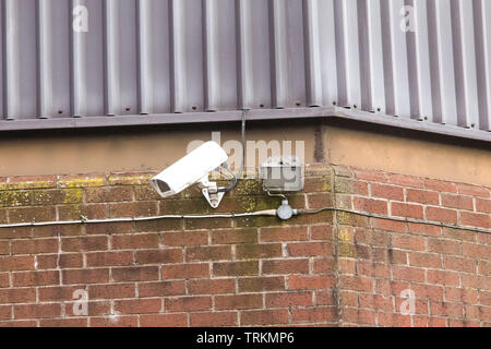 CCTV on an industrial building near Birmingham England - Stock Photo