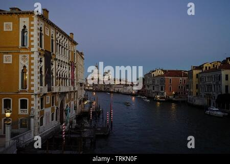 Twilight view over Grand Canal from Academia bridge, Venice, Italy - Stock Photo