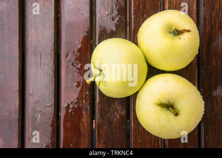 Three golden green apples of Beliy Naliv variety on brown wet natural old wooden table surface. Ripe fruits are covered by raindrops. Flat lay with co - Stock Photo