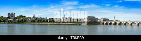 City view with castle and church of Saint Pierre of Saumur, Department Maine-et-Loire, Region Pays de la Loire, France - Stock Photo