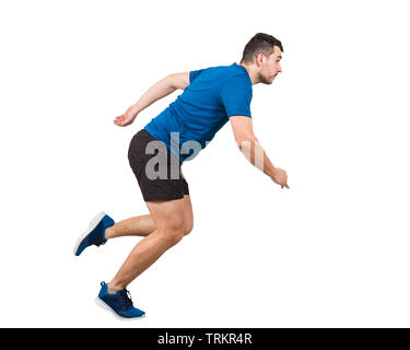 Side view full length of determined caucasian man athlete fast speed running isolated over white background. Young guy runner wearing black and blue s - Stock Photo