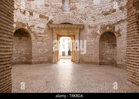 Croatia, old town of Split, UNESCO world heritage site, Vestibul of palace of Roman Emperor Diocletian - Stock Photo