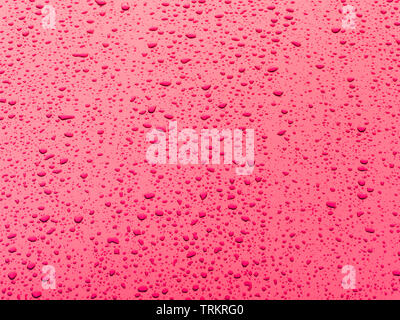 Small water drops on a red metal plate after a rain shower. Light from the corner. - Stock Photo