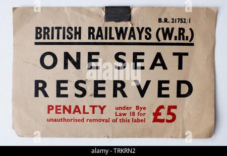 Vintage British Rail Seat Reservation Ticket - Stock Photo