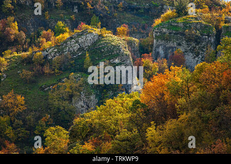 Autumn colors in Majella National Park, Orta Canyon. Abruzzo Stock Photo
