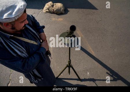 Afghan rebel during historical reconstruction USSR war campaign in Afghanistan (from 1979 to 1989) during the festival of Times and Epochs - Stock Photo