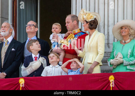 Picture dated June 8th shows Prince William, Catherine Duchess of Cambridge, Prince Louis, Prince George and Princess Charlotte at the Trooping the Colour in London today.   The Queen's official birthday has been marked with the annual Trooping the Colour parade. She was joined by members of her family and thousands of spectators to watch the display in Horse Guards Parade in Whitehall. The Prince of Wales, the Duchess of Cornwall, the Duke and Duchess of Cambridge and the Duke and Duchess of Sussex all attended. The Queen celebrated her 93rd birthday in April. The royal colonels - the Prince - Stock Photo
