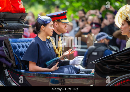Picture dated June 8th shows Meghan,Duchess of Sussex,Prince Harry and Catherine Duchess of Cambridge at the Trooping the Colour in London today.   The Queen's official birthday has been marked with the annual Trooping the Colour parade. She was joined by members of her family and thousands of spectators to watch the display in Horse Guards Parade in Whitehall. The Prince of Wales, the Duchess of Cornwall, the Duke and Duchess of Cambridge and the Duke and Duchess of Sussex all attended. The Queen celebrated her 93rd birthday in April. The royal colonels - the Prince of Wales, colonel of the W - Stock Photo