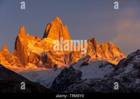 A view of the Fitz Roy mountain at sunrise, outside the town of El Chalten in the Patagonia region of Argentina. - Stock Photo