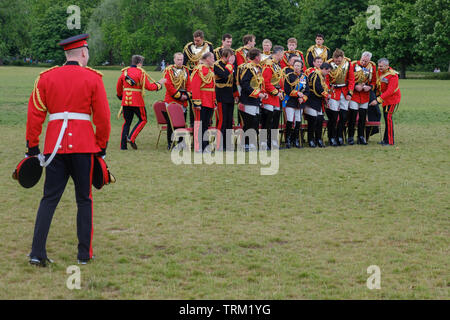 London, England - June 8, 2019:  Her Royal Highness The Princess Royal, Colonel of The Blues and Royals  and Officers of the Household Cavalry Mounted - Stock Photo