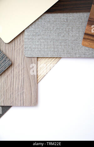 Background or concept of multi-colored cards in gray and brown tones and different textures isolate on a white background, copy space - Stock Photo