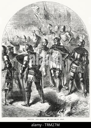 Azincourt, King Henry V and the Sire de Helly, Illustration from John Cassell's Illustrated History of England, Vol. I from the earliest period to the reign of Edward the Fourth, Cassell, Petter and Galpin, 1857 - Stock Photo