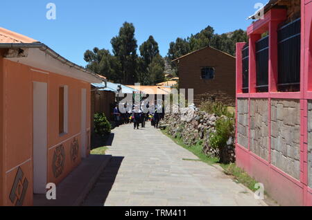 Peru,Puno. Rural houses in the countryside near Lake Titicaca. - Stock Photo