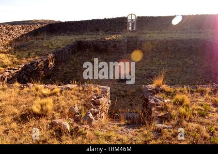 Peru,Puno.Details of stones in the field of the Island of Taquile. - Stock Photo