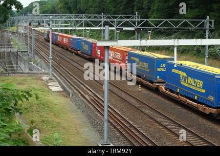 Arnhem, Netherlands - June 3, 2019: A cargo train at the railway yard in Arnhem - Stock Photo
