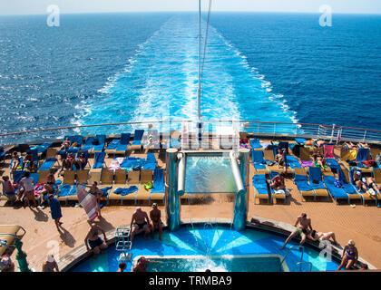 Cruise ship in the Mediterranean Sea - Stock Photo
