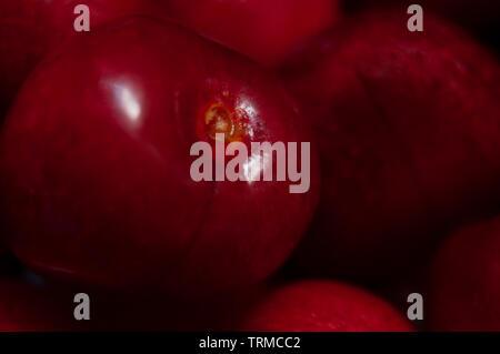 Red cherries macro, very close-up - Stock Photo
