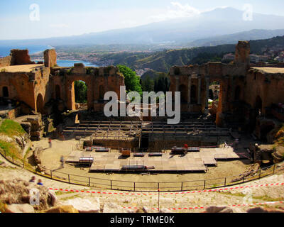 Theatre of Taormina. Roman archaeological site in Sicily south of Italy. - Stock Photo