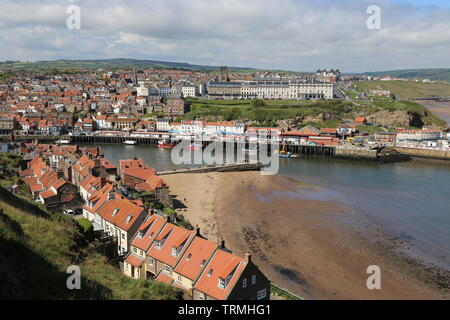 View across River Usk from St Mary's churchyard, Whitby, Borough of Scarborough, North Yorkshire, England, Great Britain, United Kingdom, UK, Europe - Stock Photo