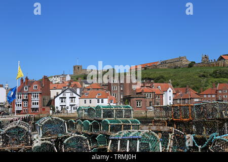 Looking across the River Esk from Fish Quay, Whitby, Borough of Scarborough, North Yorkshire, England, Great Britain, United Kingdom, UK, Europe - Stock Photo
