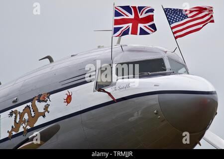 """Douglas C-53 Skytrooper """"The Spirit of Benovia"""" at the Daks over Normandy Airshow, Duxford to commemorate the 75th anniversary of D-Day - Stock Photo"""