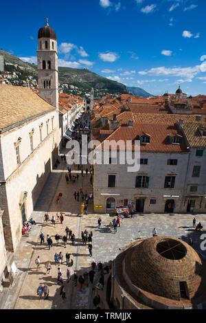View over the old town of Dubrovnik, Croatia from Pile Gate, showing the Onofrio fountain, Stradun, and the belfry of the Franciscan monastery - Stock Photo
