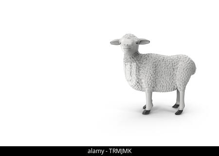 Design creative concept of islamic celebration eid al adha or happy birthday. Copy space text. Sheep isolated on white background 3D illustration - Stock Photo