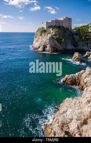 Fort Lovrijenac, guarding the northern approaches to the town, from the city walls, Dubrovnik, Croatia - Stock Photo