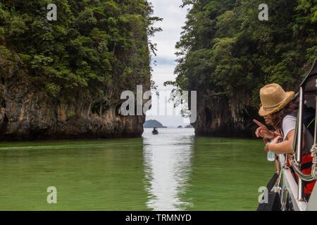 Boat tour on the beaches of Krabi - Stock Photo
