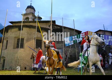 Primaluna/Italy - June 21, 2014: Medieval knights characters ready for rings competition during the Medieval festival of six fractions of the town. - Stock Photo