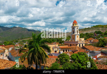 View over the terracotta roofs and bell tower Church of San Francisco de Asis in the old colonial centre of the UNESCO town of Trinidad,Cuba,Caribbean