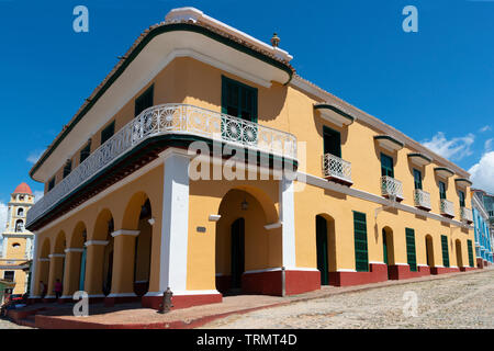 Exterior of the Palacio Brunet (Museum Romantico) , Plaza Mayor, the main square in the UNESCO World Heritage town of Trinidad, Cuba, Caribbean - Stock Photo