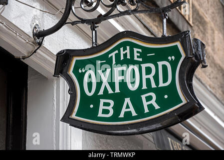 Sign outside the Oxford Bar in Young Street, the watering hole of Ian Rankin's fictional Inspector Rebus. - Stock Photo