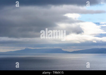 Moody sky over lake with islands.Minimalist composition and beautiful lighting.Majestic landscape of Scotland.Cloudscape scene over Scottish Loch. - Stock Photo