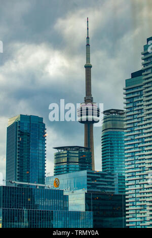 Toronto, CANADA - November 20, 2018: Landscape view in busy city with skyscrapers and legendary CV Tower inToronto - Stock Photo