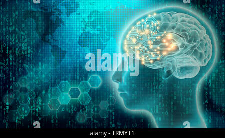 PCB brain with 3d render human head profile. Artificial intelligence or AI concepts. Futuristic science and technology mixed media illustration. - Stock Photo