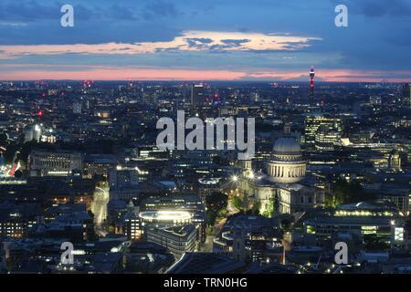 London skyline at summer sunset, England - Stock Photo