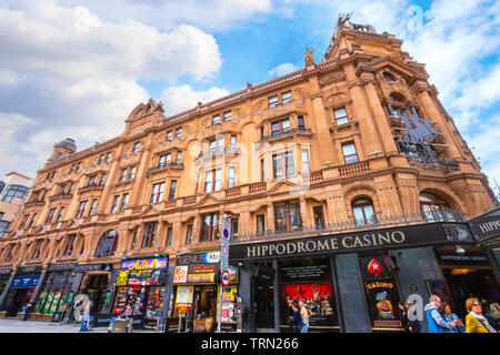 London, UK - May 13 2018: The Hippodrome is among the best late night bars in London and Leicester Square which remains open for 24 hours along with h - Stock Photo