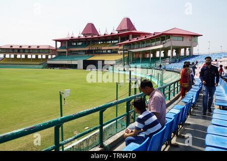 Sightseers at the scenic Himachal Pradesh Cricket Stadium