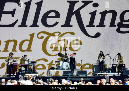 Napa, California, May 25, 2019, Elle King on stage at the 2019 Bottle Rock Festival. - Stock Photo