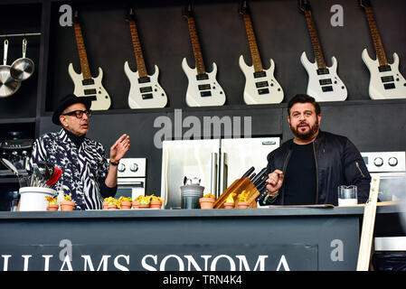 Napa, California, May 26, 2019, Jeff Goldbloom and Adam Richman on the Williams & Sonoma cullinary stage at the 2019 Bottle Rock Festival. - Stock Photo