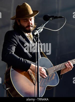 Lord Huron performing on stage at the BottleRock Festival 2019, Napa Valley,California. - Stock Photo