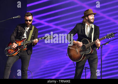 Lord Huron performing on stage at the BottleRock Festival 2019, Napa Valley, California. - Stock Photo